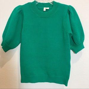 Moth kelly green crew neck puff sleeve sweater S